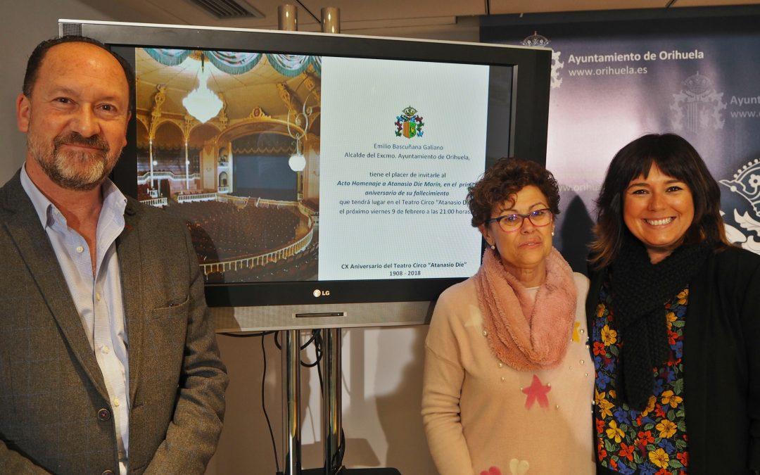 El Ayuntamiento de Orihuela rendirá homenaje a Atanasio Die con un acto conmemorativo el próximo viernes en el Teatro Circo